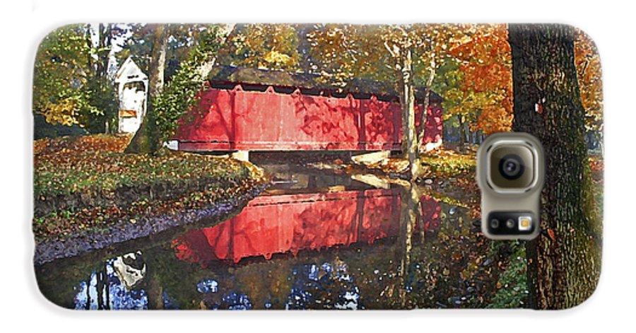 Covered Bridge Galaxy S6 Case featuring the photograph Autumn Sunrise Bridge by Margie Wildblood