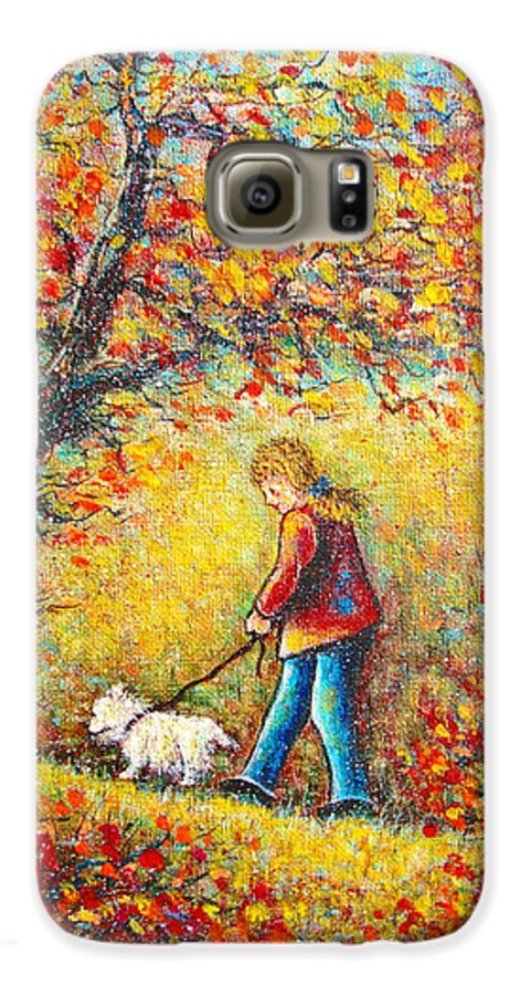 Landscape Galaxy S6 Case featuring the painting Autumn Walk by Natalie Holland