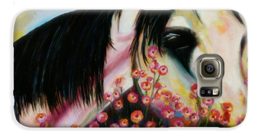 Horse Galaxy S6 Case featuring the painting Avalon's Rose by Sidra Myers