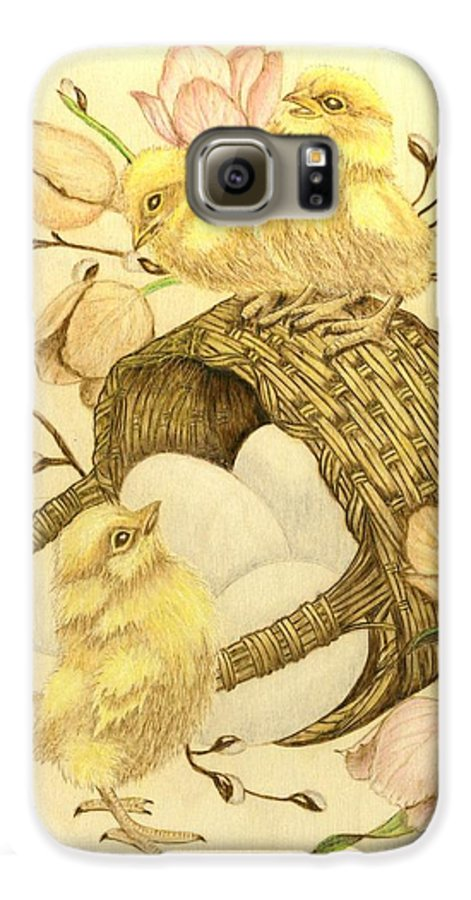 Chicks Galaxy S6 Case featuring the pyrography Baby Chicks by Danette Smith