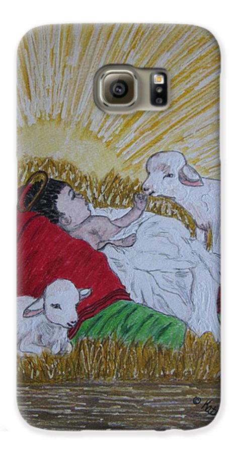 Saviour Galaxy S6 Case featuring the painting Baby Jesus At Birth by Kathy Marrs Chandler
