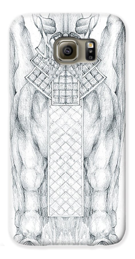 Babylonian Galaxy S6 Case featuring the drawing Babylonian Sphinx Lamassu by Curtiss Shaffer