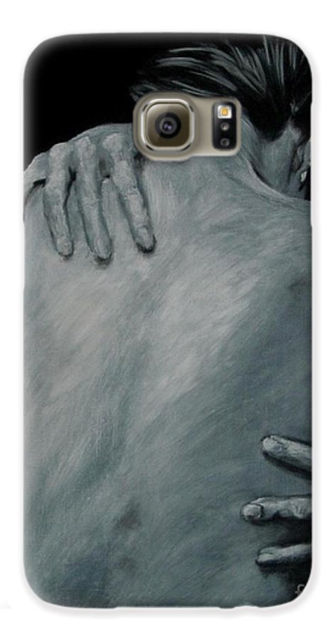Nude Galaxy S6 Case featuring the painting Back Of Naked Woman by Jindra Noewi