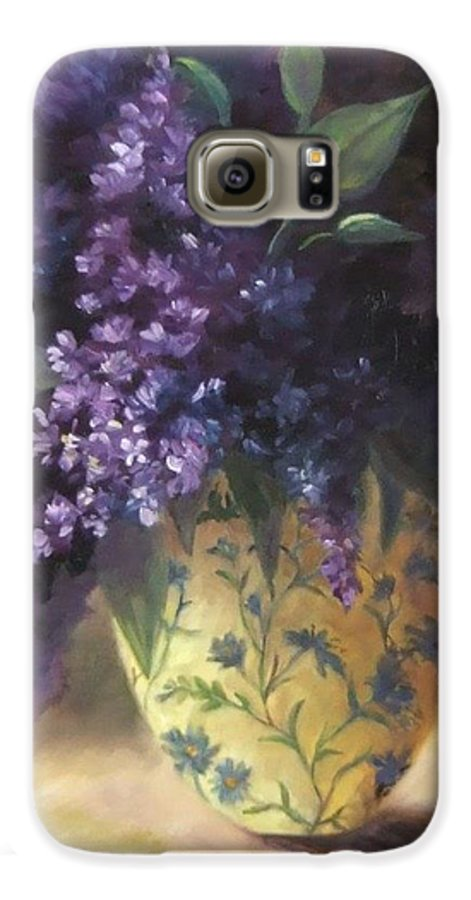 Lilac Still Life Galaxy S6 Case featuring the painting Backlit Bouquet by Ruth Stromswold
