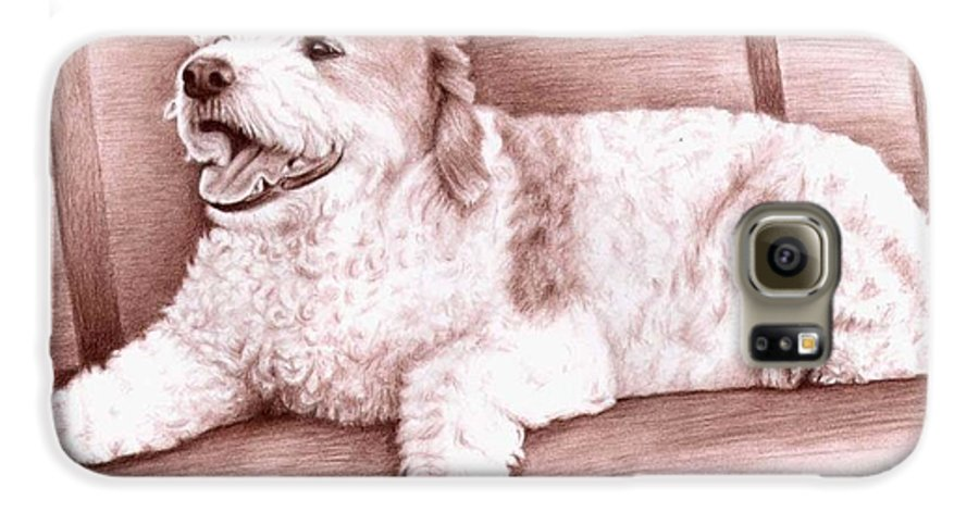 Dog Galaxy S6 Case featuring the drawing Baco by Nicole Zeug