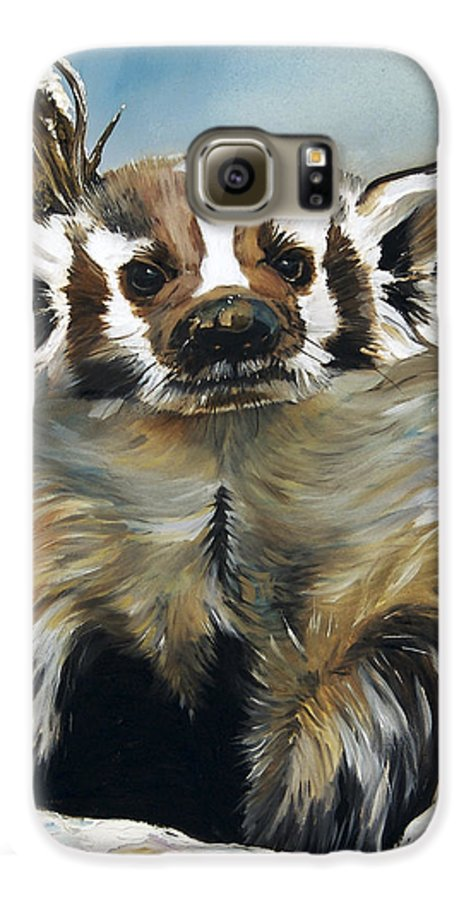 Southwest Art Galaxy S6 Case featuring the painting Badger - Guardian Of The South by J W Baker