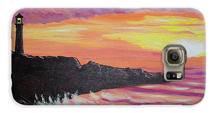 Seascape Galaxy S6 Case featuring the painting Bahia At Sunset by Marco Morales