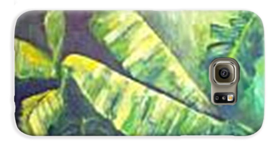 Banana Leaf Galaxy S6 Case featuring the painting Banan Leaf by Carol P Kingsley