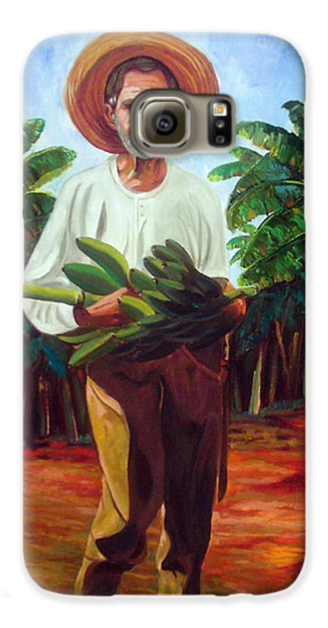 Cuban Art Galaxy S6 Case featuring the painting Banana Farmer by Jose Manuel Abraham