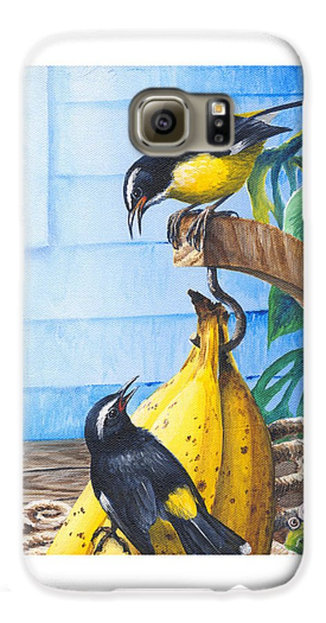 Chris Cox Galaxy S6 Case featuring the painting Bananaquits And Bananas by Christopher Cox