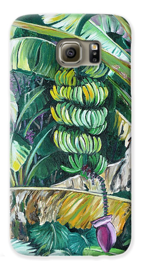 Caribbean Painting Bananas Trees P Painting Fruit Painting Tropical Painting Galaxy S6 Case featuring the painting Bananas by Karin Dawn Kelshall- Best