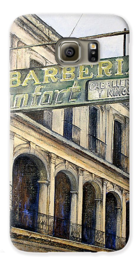 Konfort Barberia Old Havana Cuba Oil Painting Art Urban Cityscape Galaxy S6 Case featuring the painting Barberia Konfort by Tomas Castano