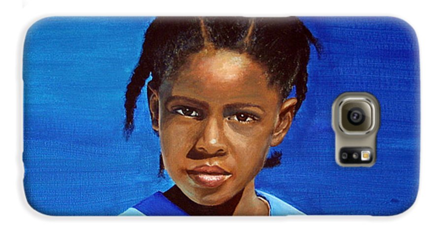 Portrait Galaxy S6 Case featuring the painting Barbuda School Girl by Fiona Jack