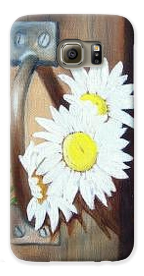Rustic Barn Door With Metal Latch And Three White Daisies Galaxy S6 Case featuring the painting Barn Door Daisies Sold by Susan Dehlinger