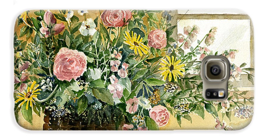 Basket Galaxy S6 Case featuring the painting Basket Bouquet by Arline Wagner
