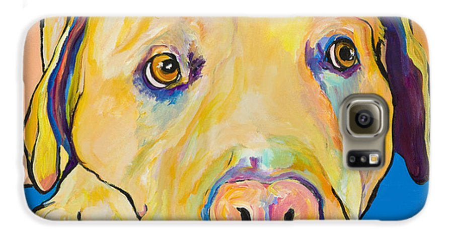 Dog Paintings Yellow Lab Puppy Colorful Animals Pets Galaxy S6 Case featuring the painting Bath Time by Pat Saunders-White