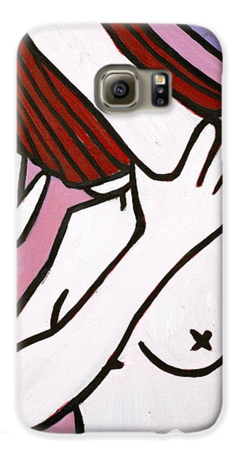 Nude Galaxy S6 Case featuring the painting Bather by Thomas Valentine