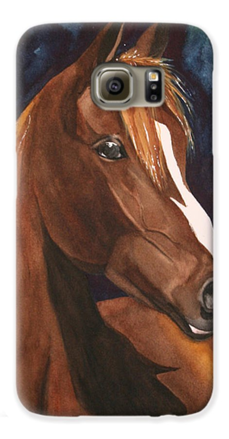 Horse Galaxy S6 Case featuring the painting Bay On Blue 2 by Jean Blackmer