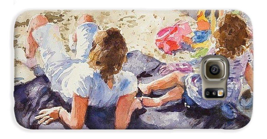 Beach Galaxy S6 Case featuring the painting Beach Blanket by Debra Jones
