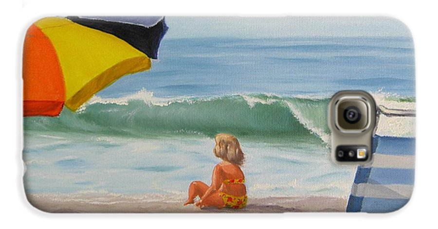 Seascape Galaxy S6 Case featuring the painting Beach Scene - Childhood by Lea Novak