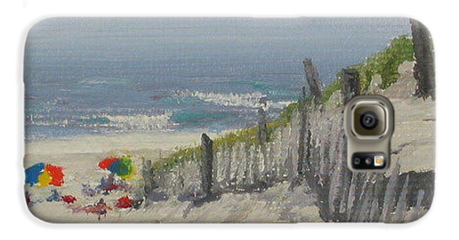 Beach Galaxy S6 Case featuring the painting Beach Scene Miniature by Lea Novak