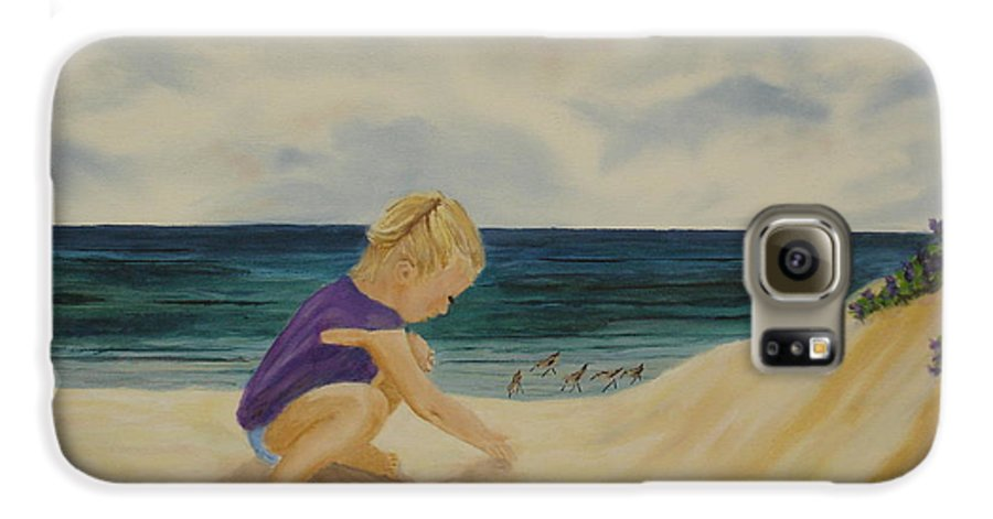 Child Galaxy S6 Case featuring the painting Beachcomber by Susan Kubes