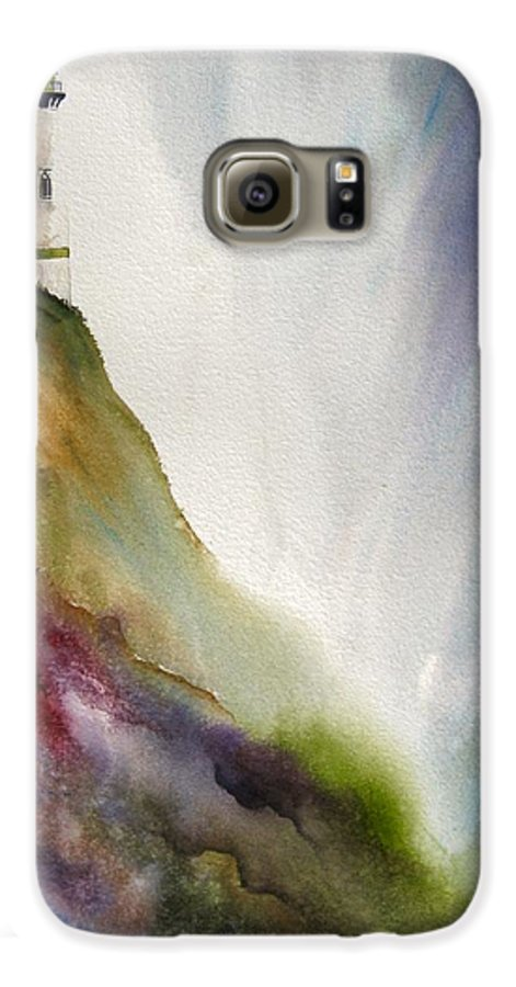 Lighthouse Galaxy S6 Case featuring the painting Beacon by Karen Stark