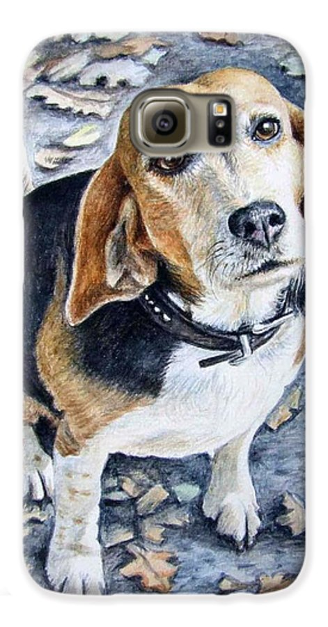 Dog Galaxy S6 Case featuring the painting Beagle Nanni by Nicole Zeug