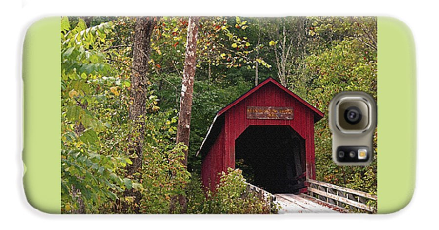 Covered Bridge Galaxy S6 Case featuring the photograph Bean Blossom Bridge I by Margie Wildblood