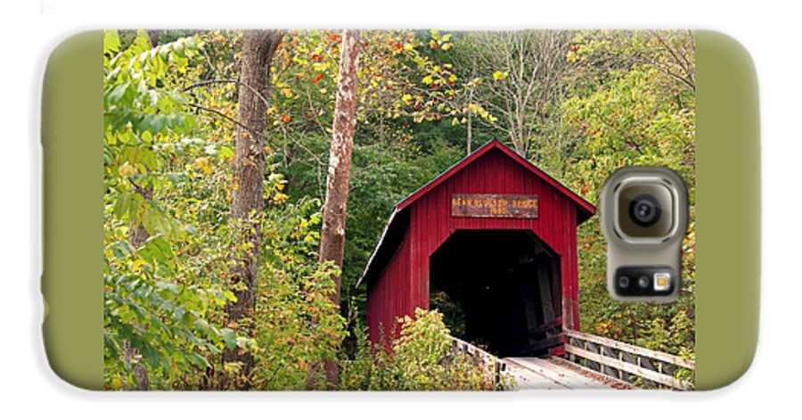 Covered Bridge Galaxy S6 Case featuring the photograph Bean Blossom Bridge II by Margie Wildblood