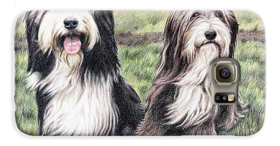 Dogs Galaxy S6 Case featuring the drawing Bearded Collies by Nicole Zeug