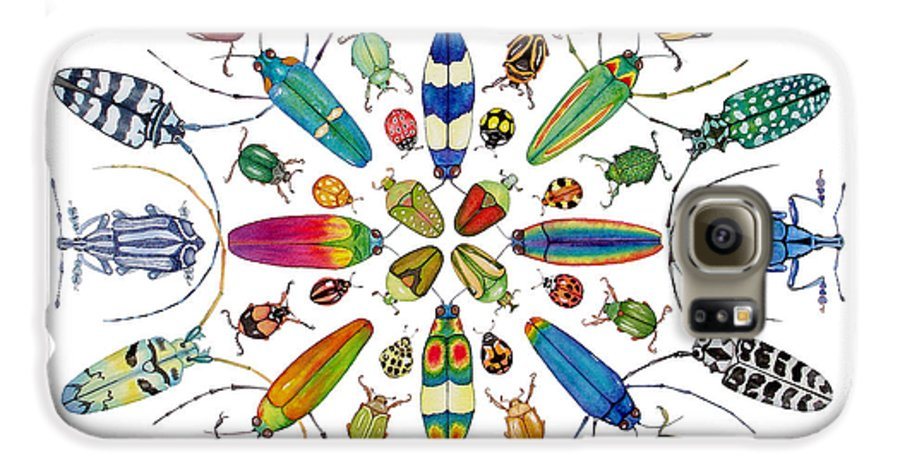 Insects Galaxy S6 Case featuring the painting Beautiful Beetles by Lucy Arnold