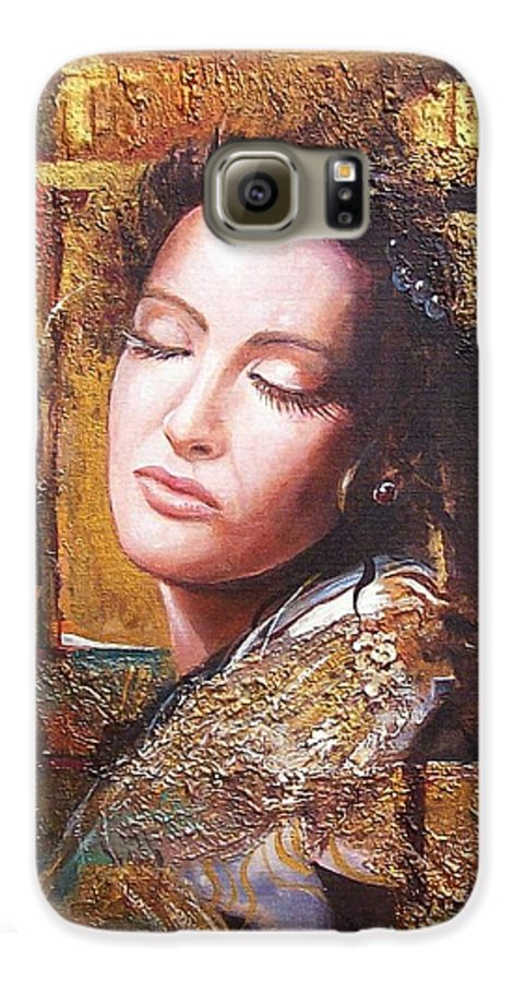Female Portrait Galaxy S6 Case featuring the painting Because You Are Beautiful by Sinisa Saratlic