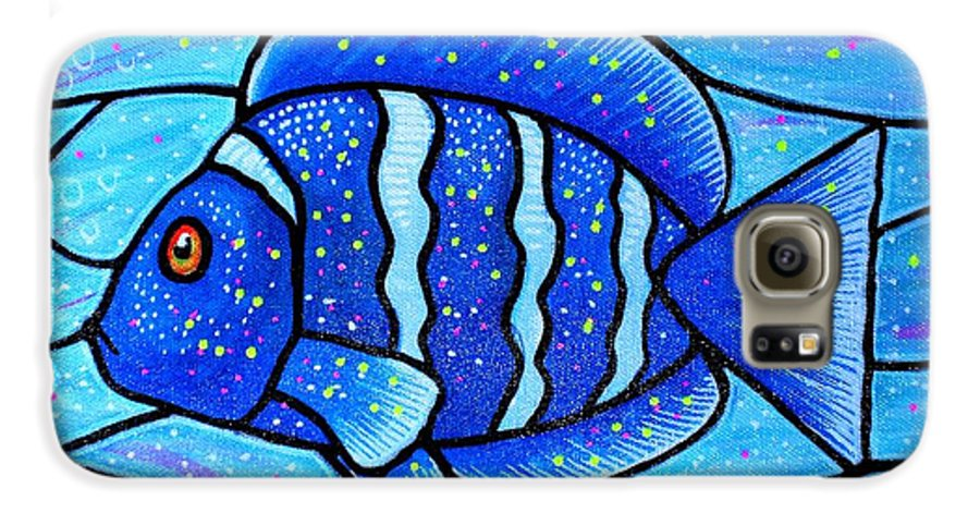 Tropical Fish Galaxy S6 Case featuring the painting Beckys Blue Tropical Fish by Jim Harris