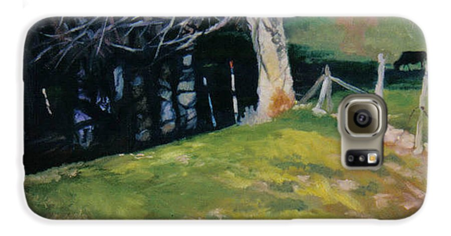 Landscape Galaxy S6 Case featuring the painting Behind The Leve by John L Campbell