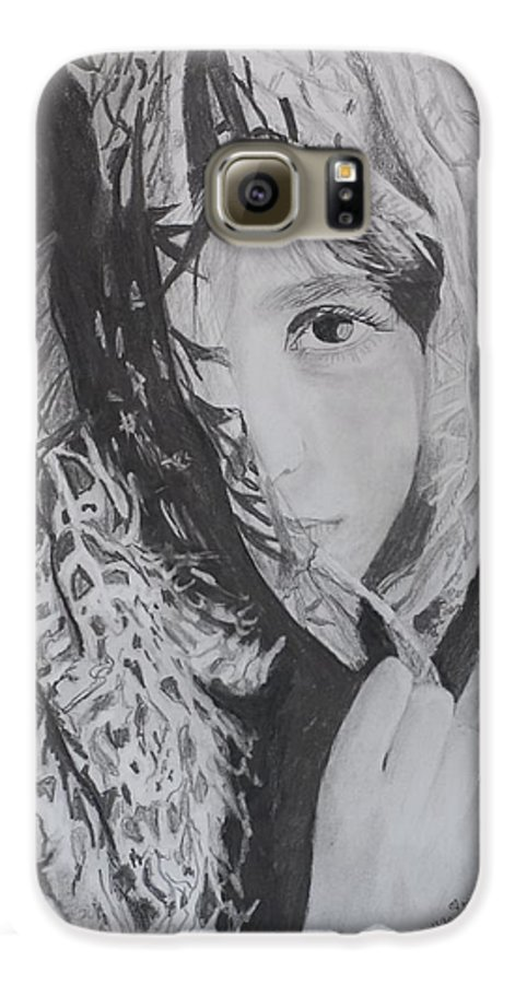 Graphite Galaxy S6 Case featuring the drawing Behind The Veil by Quwatha Valentine