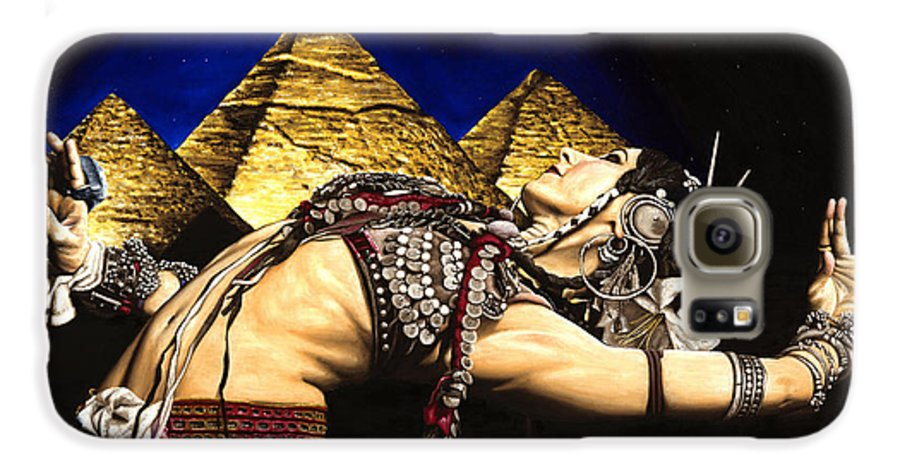 Bellydance Galaxy S6 Case featuring the painting Bellydance Of The Pyramids - Rachel Brice by Richard Young