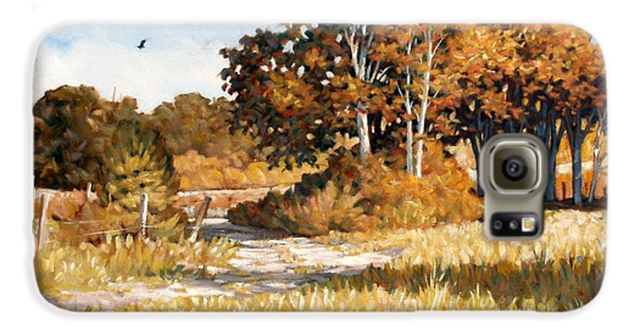 Landscape Galaxy S6 Case featuring the painting Bend In The Road by Kevin Lawrence Leveque