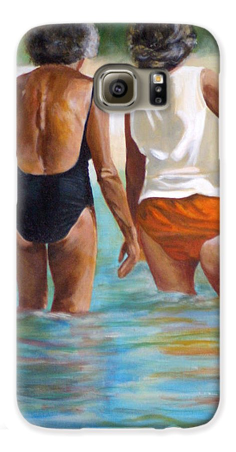 Friends Galaxy S6 Case featuring the painting Best Friends by Fiona Jack