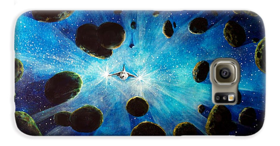 Asteroid Field. Astro Galaxy S6 Case featuring the painting Better Go Around by Murphy Elliott