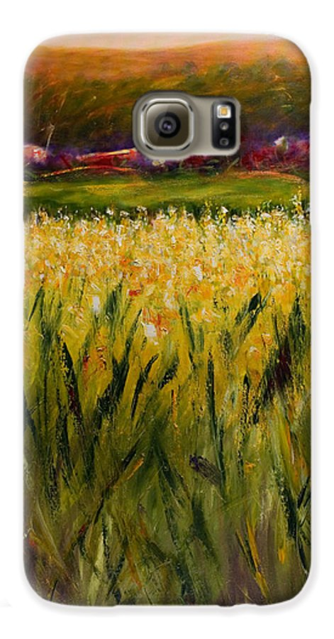 Landscape Galaxy S6 Case featuring the painting Beyond The Valley by Shannon Grissom