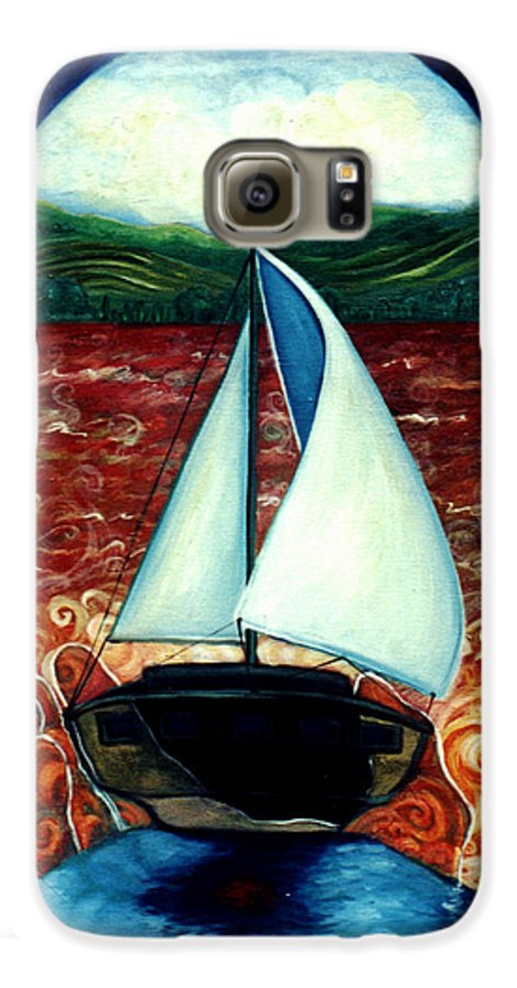 Sailboat Galaxy S6 Case featuring the painting Beyond These Shores by Teresa Carter