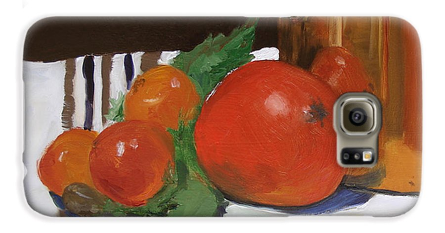 Still Life Galaxy S6 Case featuring the painting Big Red Tomato by Barbara Andolsek