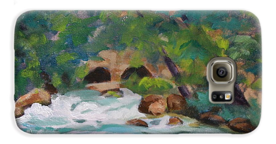 Impressionistic Galaxy S6 Case featuring the painting Big Spring On The Current River by Jan Bennicoff