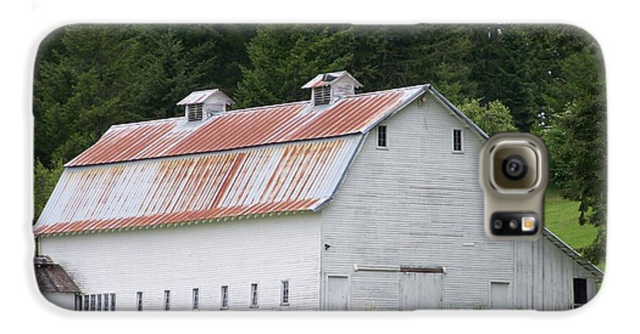 White Galaxy S6 Case featuring the photograph Big White Old Barn With Rusty Roof Washington State by Laurie Kidd