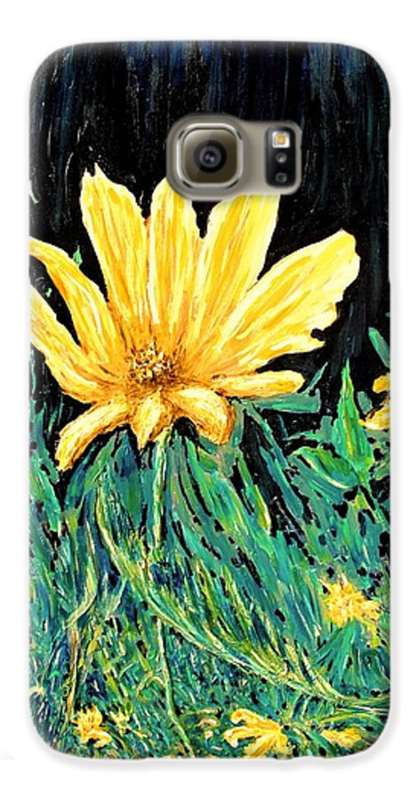 Flower Galaxy S6 Case featuring the painting Big Yellow by Ian MacDonald