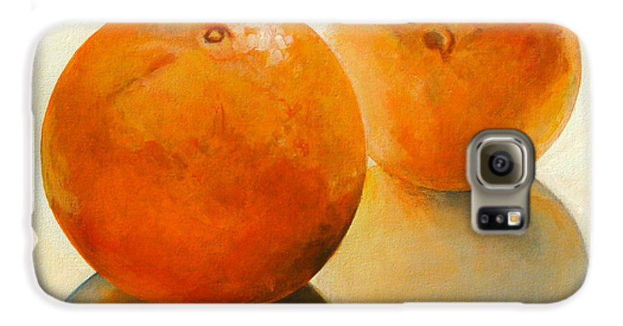 Still Life Galaxy S6 Case featuring the painting Billes Oranges by Muriel Dolemieux