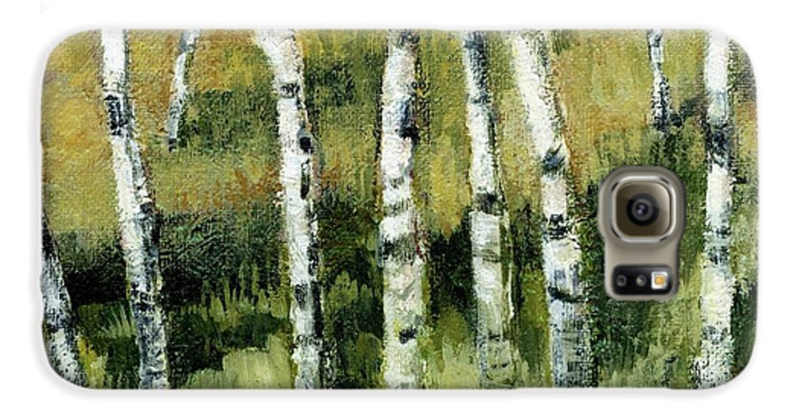 Trees Galaxy S6 Case featuring the painting Birches On A Hill by Michelle Calkins