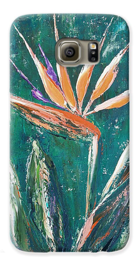 Bird Of Paradise Galaxy S6 Case featuring the painting Bird Of Paradise by Gina De Gorna