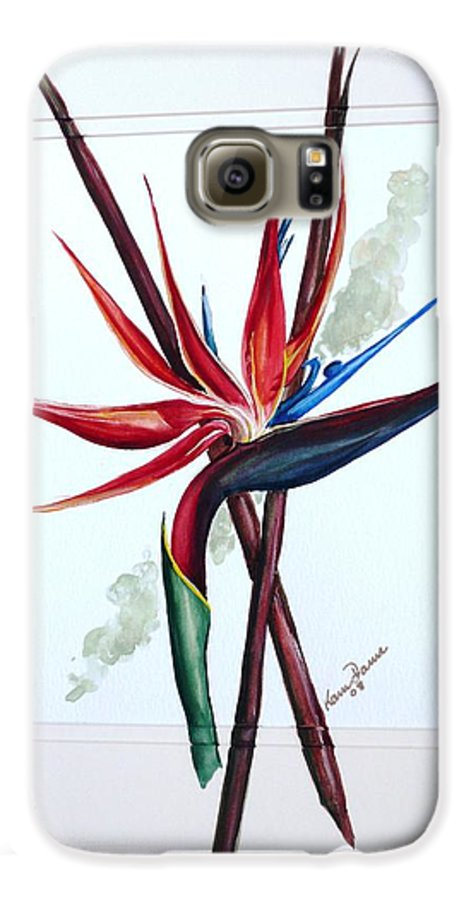 Floral Tropical Caribbean Flower Galaxy S6 Case featuring the painting Bird Of Paradise Lily by Karin Dawn Kelshall- Best